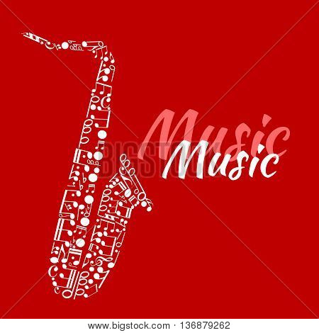 Jazz concert or festival poster template design with abstract silhouette of saxophone made up of musical notes and key signatures, bass clefs and chords with text Music