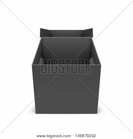 Illustraion of open black cardboard boxes on a white