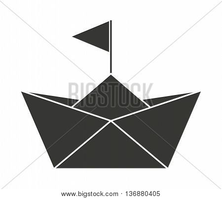 Baby toy sailboat paper isolated icon design, vector illustration  graphic