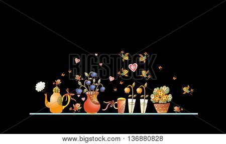 Tea time. Cute shelf with teapot, teacups, flowers and birds on black background. Beautiful colorful hand drawn vector illustration.