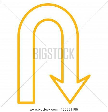 Turn Back vector icon. Style is stroke icon symbol, yellow color, white background.