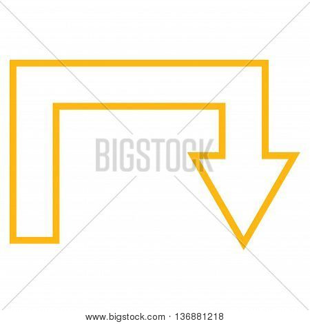 Turn Back vector icon. Style is outline icon symbol, yellow color, white background.