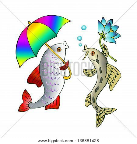 Two talking fish - with umbrella and with flower. Vector cute cartoon illustration.
