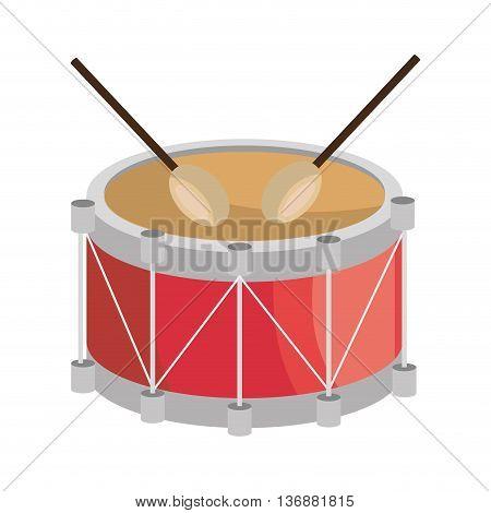Drum and sticks music instrument icon design, vector illustration image.