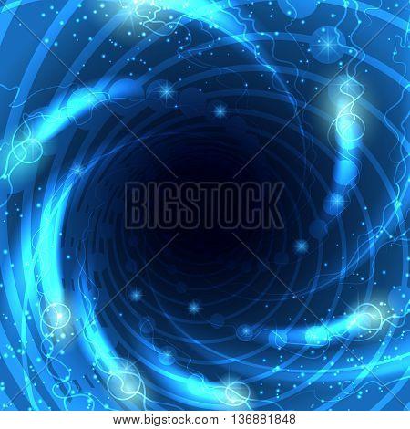 Tunnel lights or vortex glow blue vector illustration