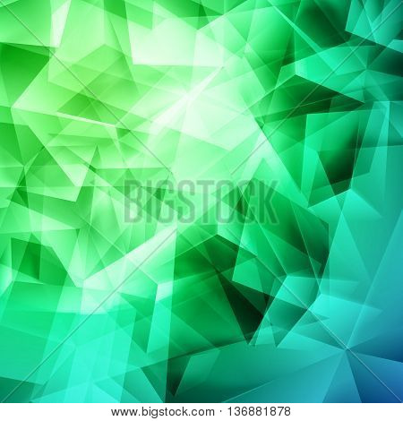 Iridescent green background seamless pattern of polygonal