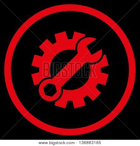 Configuration Tools vector icon. Image style is a flat icon symbol inside a circle, red color, black background.
