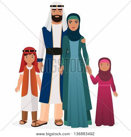 Arabian family. Arabian man and woman with boy and girl kids in traditional national clothes