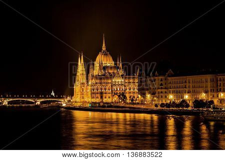 Parliament Building Boats Danube River Reflection Budapest Hungary. Parliament Building built betwwn 1885 to 1904.