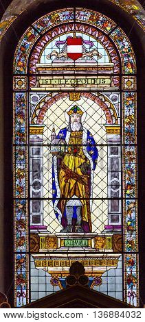 BUDAPEST, HUNGARY -  JUNE 10, 2016 Saint Leopoldus Melk Austria Military Governor Stained Glass Saint Stephens Cathedral Budapest Hungary. Saint Catherine is a Christian Martyr that died in 400AD. Cathedral built in the 1800s and consecrated in 1905.