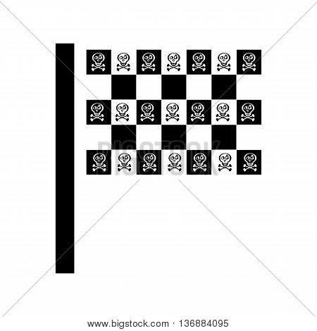 Pirate Flag Illustration For Design On White Background