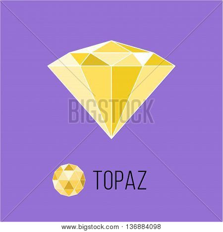 Topaz flat icon with top view. Rich luxury symbol. Stock vector illustration