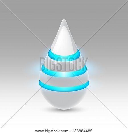 White smooth object drop of the future with blue luminescent bands