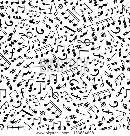 Music and sound background with black and white seamless pattern of beamed and half notes, quavers, chords and rests, treble and bass clefs, key signatures and dynamics