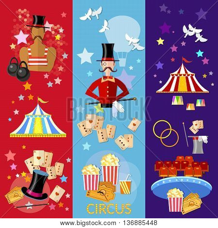 Circus banner performance strongman magician magic tricks circus show vector illustration