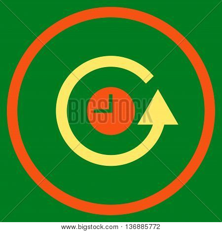 Restore Clock vector bicolor icon. Image style is a flat icon symbol inside a circle, orange and yellow colors, green background.