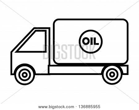 black and white cargo oil truck side view over isolated background, vector illustration