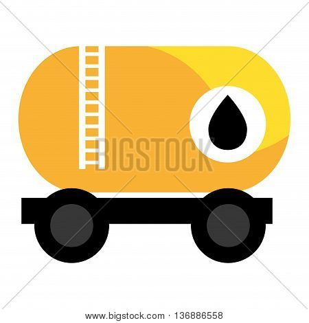 black yellow and  white cargo oil truck side view over isolated background, vector illustration