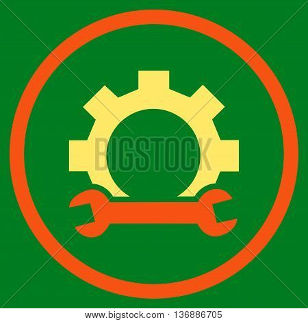 System Setup vector bicolor icon. Image style is a flat icon symbol inside a circle, orange and yellow colors, green background.