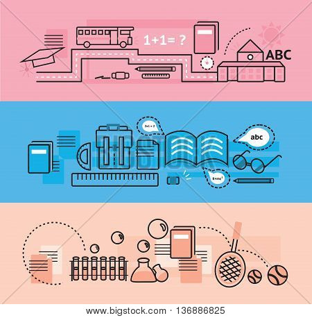 Modern education and school subject flat line design banners badge brochure flyer and background template for website and mobile website application set create by vector