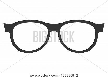 black eyeglass front view over isolated background, vector illustration