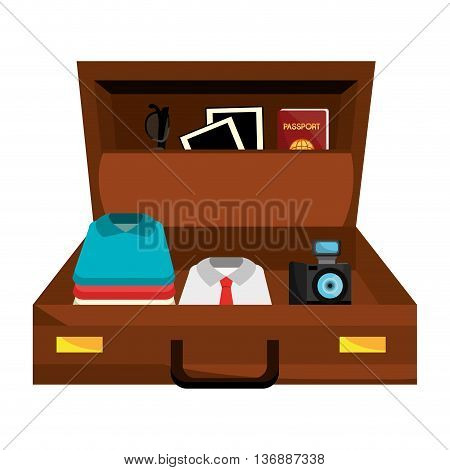 brown suitcase bag with travel set items over isolated background, vector illustration