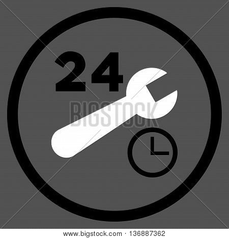 Nonstop Service Hours vector bicolor icon. Image style is a flat icon symbol inside a circle, black and white colors, gray background.