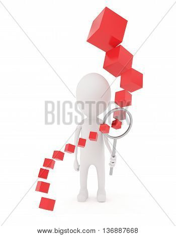 3D Character Holding Magnifier And Cubes Arranging In Acceding Order Of Size When It Goes Through Ma
