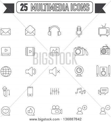 Flat line silhouette multimedia and social media tool equipment sign and symbol icon collection set create by vector
