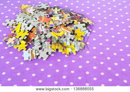Jigsaw puzzles set on a lilac background. Jigsaw puzzles games for kids. Logic puzzles for children