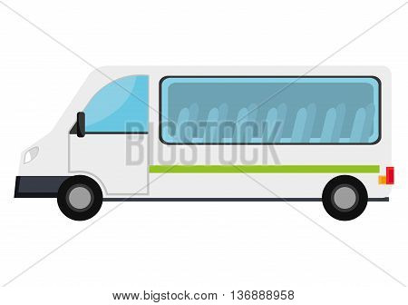 White van with windows and chairs visible, isolated icon.