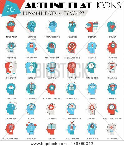 Vector Human mentality personality and individuality features ultra modern outline artline flat line icons for web and apps