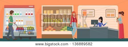 People shopping in a supermarket concept. Customers buy products in food supermarket store