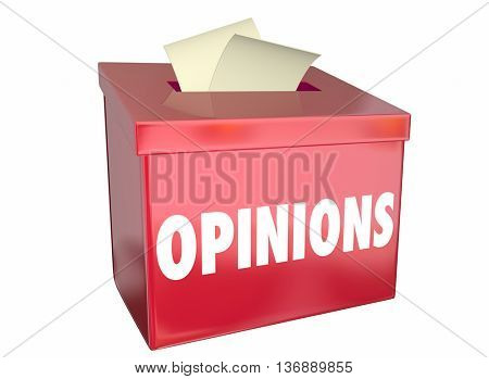 Opinions Send Submit Comments Box 3d Illustration