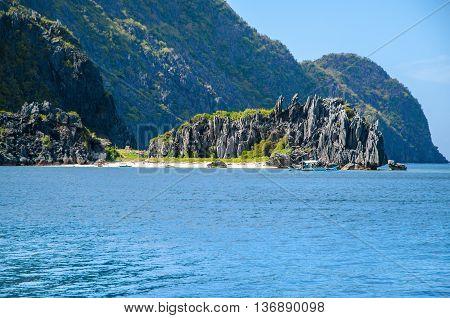 El Nido, Palawan, Philippines - rocks in front of Matinloc island.