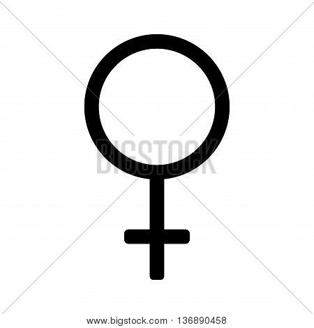 Gender sign mirror of Venus. Female monochrome symbol isolated on white background. Abstract plane mark with women sex icon. Goddess concept. Romantic silhouette. Stock VECTOR illustration