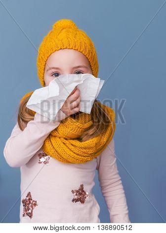 winter seasonal infection of a little girl