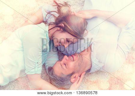 romantic flirting lovers at home