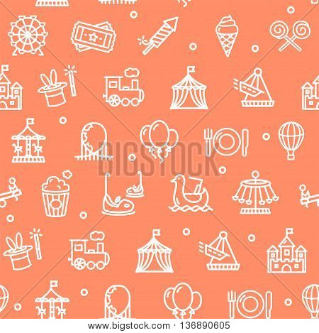 Amusement Park Background Pattern on Red. Vector illustration
