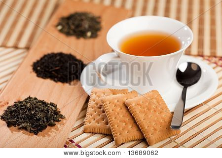 Cup Of Tea And Dried Tea Leaves