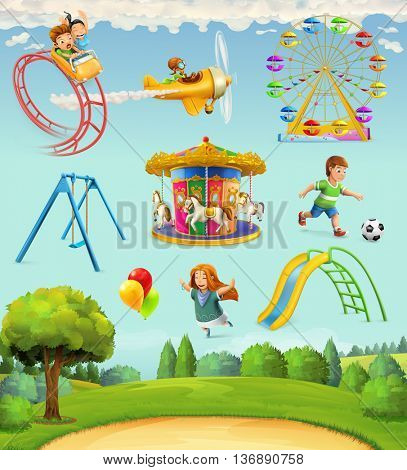 Children playground, set of vector icons