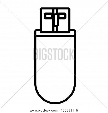 Portable usb memory isolated on white background, vector illustration.