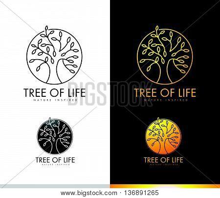 Monogram Tree Logo Concept with Outlines Leaves Shape. Tree Icon Leaves Logo Spiritual Logo.