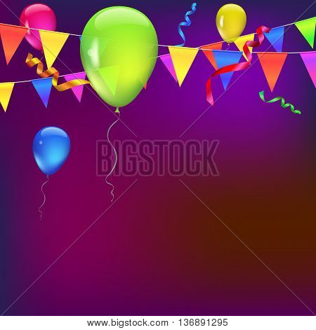 Background with flags, garlands, streamers and balloons for your presentation. Greeting card with bokeh effect on background. Colored flags, pennants, streamers and transparent colored balloons