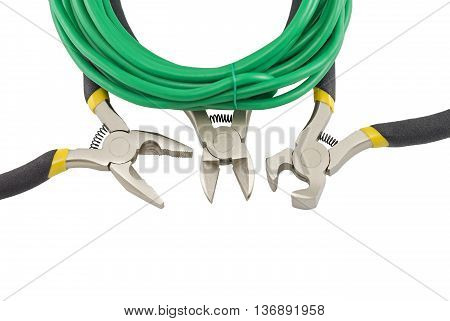 Tools for electrician and cables on white background