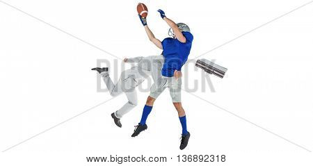 Businessman tackling a football player against white background with vignette