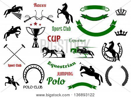 Equestrian and polo club, races and jumping show competition symbols with rearing up and jumping horses, galloping race horses with riders, trophy cup and horseshoes, crossed mallets and whips, heraldic wreaths and ribbon banners, crowns and stars