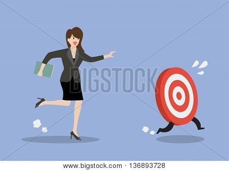 Business woman try to catch the target. Business concept