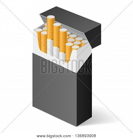 Black Pack of cigarettes isolated on white background