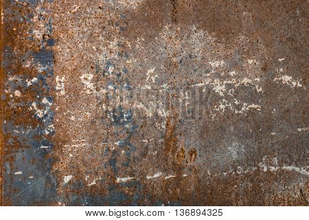 Texture of old blue metal. Rust and grungy background.
